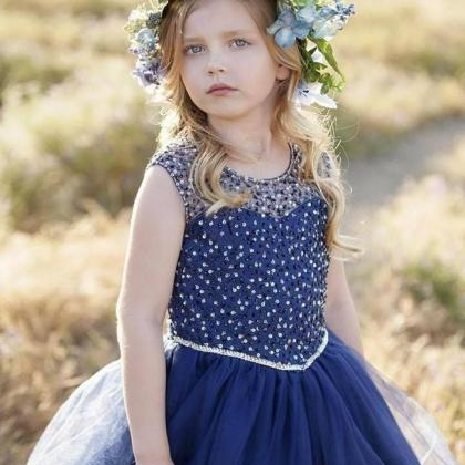 2017 Navy Blue Flower Girls Dresses..