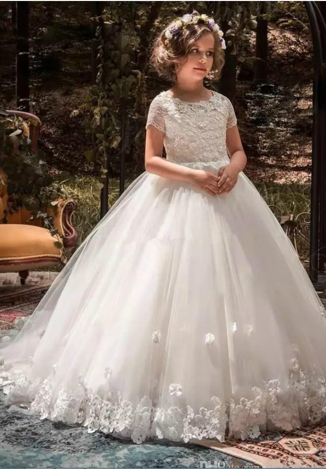 White Tulle A Line Girl Communion Dress Kids Formal Wear Flower