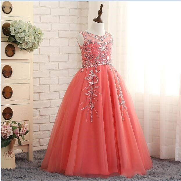 2018 Coral Girls Pageant Dresses Princess Puffy Ball Gown Tulle Jewel Crystal Beading Kids Flower Girls Dresses Birthday Gowns