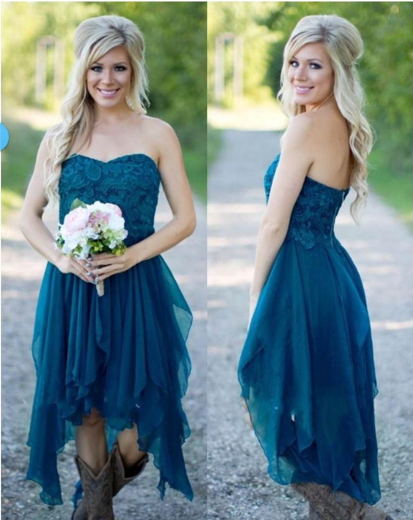 Country Bridesmaid Dresses 2018 Short Hot For Wedding Teal Chiffon Beach Lace High Low Ruffles Party Maid Honor Gowns