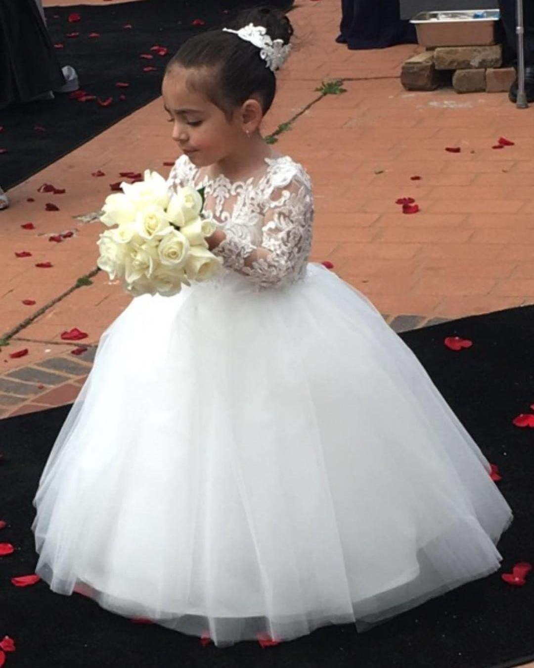 White Ball Gown Flower Girl Dresses With Long Lace Sleeves 2018 On