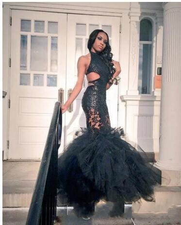 b72cdaf19ced Black Girls Mermaid Prom Dresses 2018 Sheer Lace Applique Sexy ...