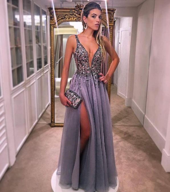 4819fc2c716 2018 New Charming Sexy Prom Dresses A-Line Deep V-neck Sleeveless Beading Prom  Dress High Slit Floor Length Party Dress Tulle Fabric Crystal Evening  Dresses ...