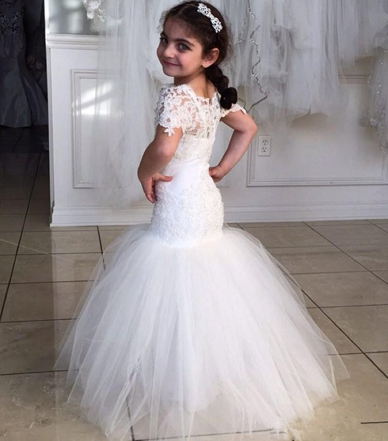 New Lace Communion Dress Mermaid Flower Girl Dresses Short Sleeve Children  Dresses Custom,made Flower Girl Dresses For Weddings