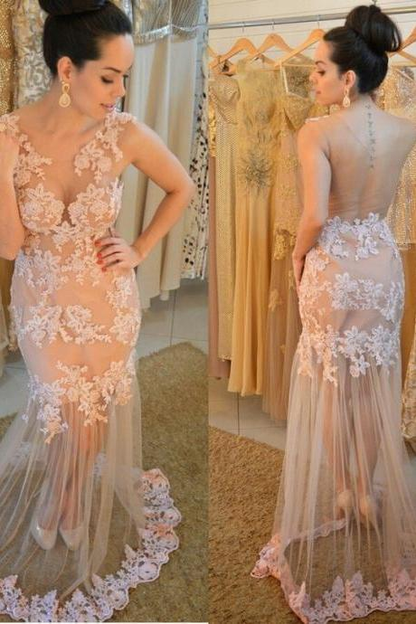 Elegant Prom Dress,See Though Back Evening Dress,Sheer Mermaid Prom Dress Evening Dresses,Lace Evening Gown