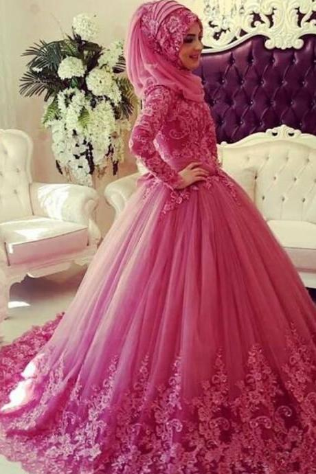 Cheap wedding dresses,Pink Wedding Dress With Hijab, Lace Wedding Dress, Long Sleeve Wedding Dress, Elegant Wedding Dress, Cheap Wedding Dress, Wedding Dresses, Puffy Wedding Dress, Gorgeous Wedding Dress