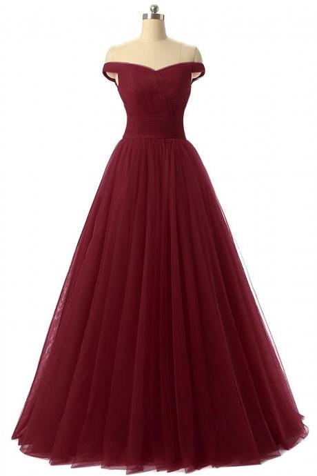 A-line Tulle Prom Formal Evening Dress, Sexy Burgundy Prom Dresses, Red Prom Dress, Tulle Prom Dress, Off the Shoulder Prom Dress, Homecoming Dress