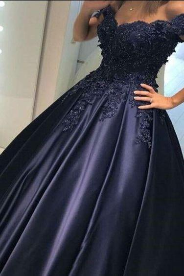 Ball Gown Prom Dresses, Navy Blue Prom Dresses, Appliques Prom Dresses, Evening Dresses, Party Dresses, Formal Dresses,Beautiful Evening Gowns for Special Occasions