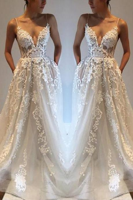 Floral Appliques Plunge V Spaghetti Straps Floor Length Tulle Wedding Gown Featuring Train