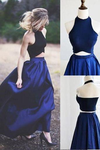 Gorgeous Two Piece Prom Dress Party Dress Black Top with Royal Blue Skirt