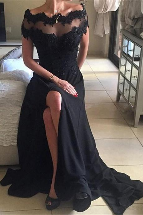 Cap Sleeve Black Applique Lace Cheap Evening Dress, Side Split Prom Dress, Sexy Formal Gowns