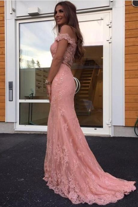 Charming Evening Dress, Appliques Evening Dresses, Off Shoulder Mermaid Prom Dress, Formal Evening Dress