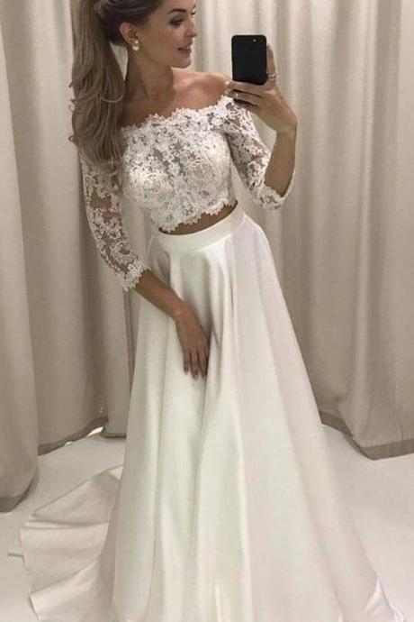Two Piece Off-the-Shoulder 3/4 Sleeves White Prom Dress With Lace