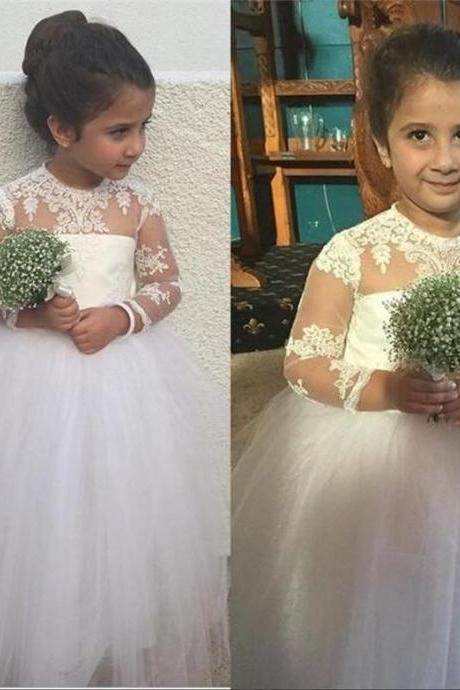 Cute White Long Flower Girls Dresses For Weddings Ball Gown Tulle Long Sleeves Vintage Lace Pageant Pincess Dresses Girl First Communion Dress