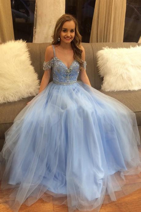 New Fashion Blue Beaded Prom Dress with Cold Shoulders