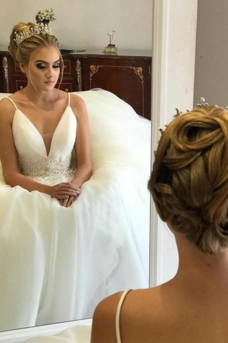 2018 New Charming Wedding Dress, Sexy Wedding Dresses, Sleeveless Bridal Dress