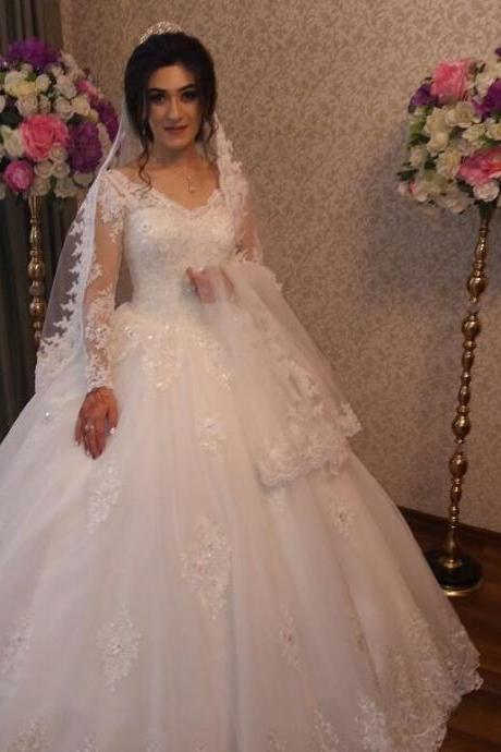 Wedding Dresses,Long Sleeve Wedding Dresses,Appliques Lace Wedding Dresses,Sheer Neck Wedding Dresses