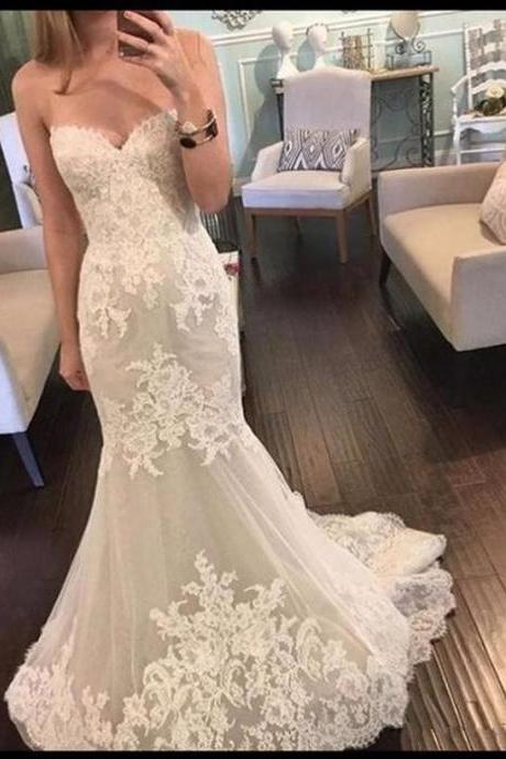 Wedding Dress,Wedding Dresses,Sleeveless Mermaid Wedding Dresses,Lace Wedding Dress with Sequins