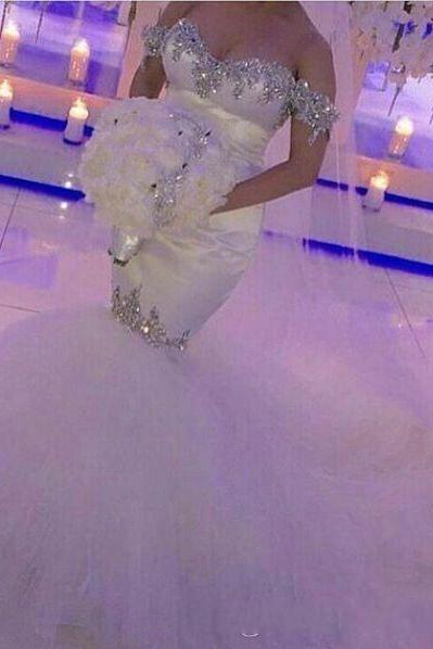 2018 Cheap Off Shoulder Arabic Mermiad Wedding Dresses Hot Bling Court Train Luxury Crystal Rhinestone Tulle Custom Bridal Gowns Vestidos