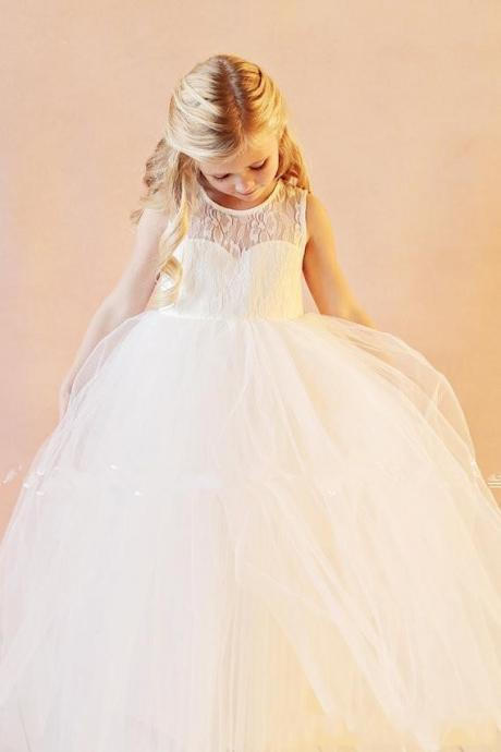 2018 Vintage Flower Girl Dresses Wedding Gowns Floor Length Lace White Organza Flowergirl dresses for Wedding
