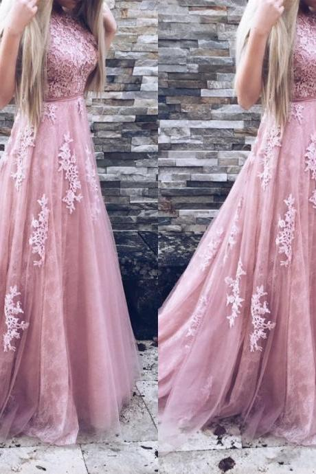 2018 Long Prom Dresses A Line Appliques Lace Sleeveless With Belt Blush Pink Formal Evening Gowns Prom Dress Party dress