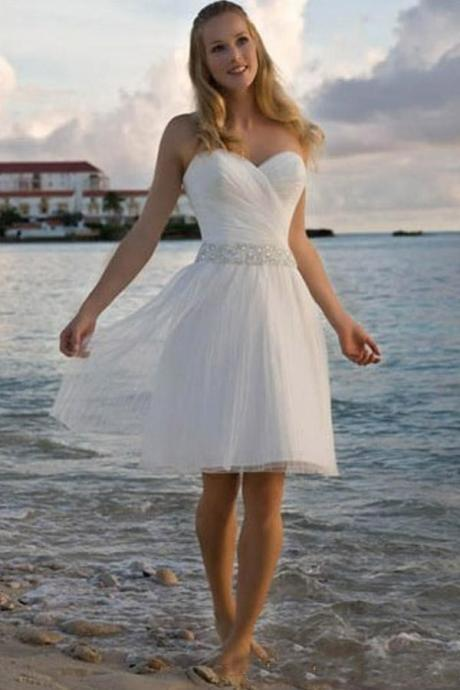 Cheap Sweetheart Short Beach Wedding Dresses A Line Bohemia Tulle Knee Length Wedding Gown vestido de novia Custom Size Bridal Gwns