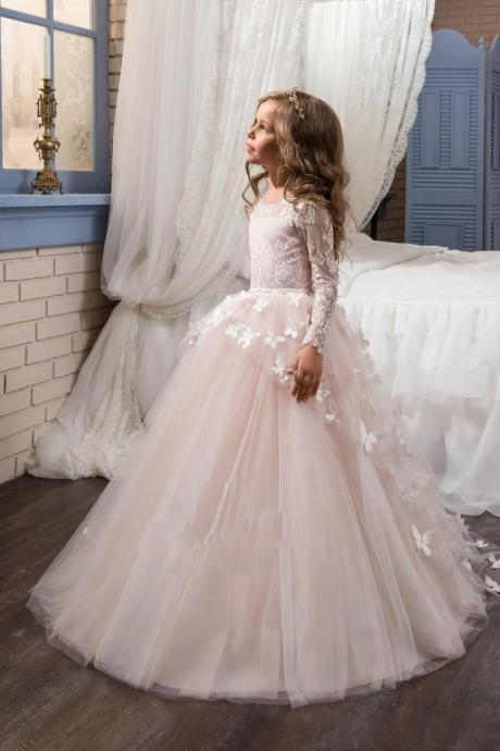 2018 Blush Lace Long Sleeves Ball Gown Flower Girls Dresses Full Butterfly Kids Pageant Gowns Little Girl Birthday Party Dresses