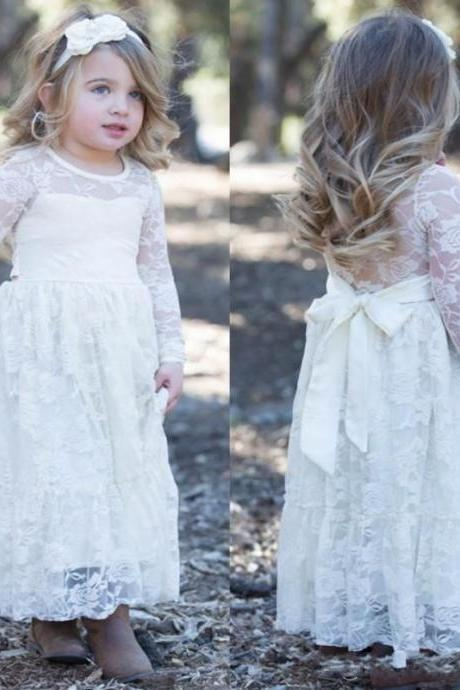 2017 White A Line Designer Lace Flower Girl Dresses Jewel Neck Princess Long Sleeves Kids Girls Formal Evening Party Wears Dresses