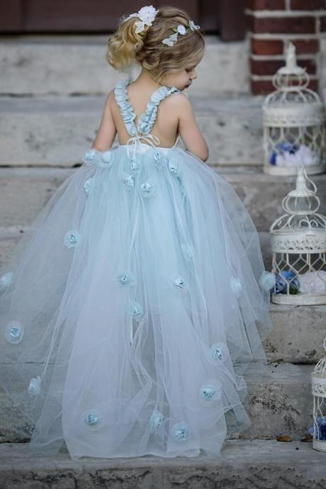 Classy Sky Blue Layered Tulle Pleated Frock Flower Girls Dresses Ball Gowns Lovely 3D Flowers Floor Length A Line Princess Gowns