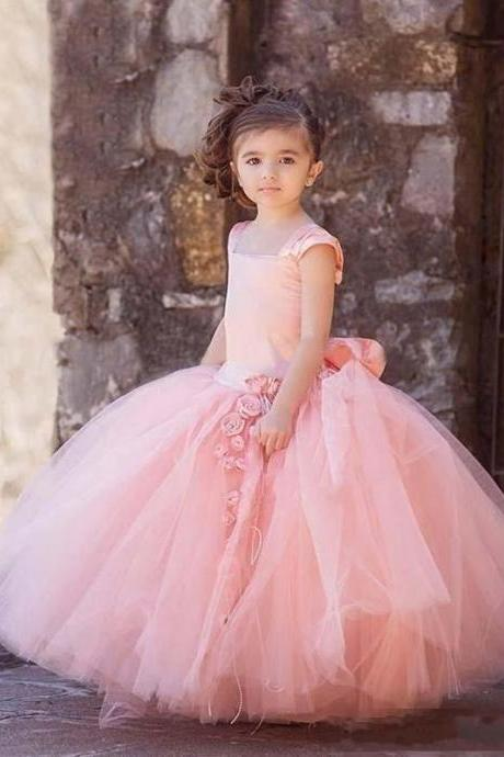 Puffy Flower Girl Dresses 2017 Tulle Girls Prom Party Dress Kids Formal Wear Custom Made Baby Gowns For Wedding First Communion Gown