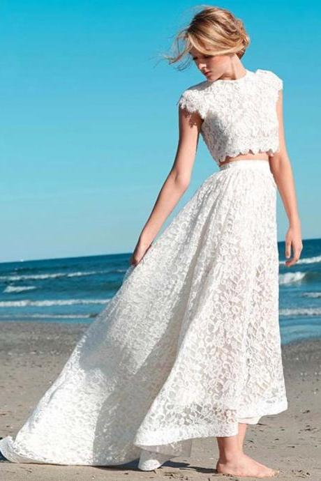 Wedding Dress,Wedding Dresses,Lace Wedding Dresses,Beach Wedding Dresses,Two Pieces Wedding Dresses,Cap Sleeve Wedding Dresses