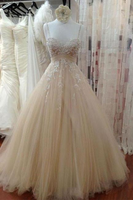 Wedding Dress,Wedding Dresses,Champagne Wedding Dresses,Tulle Lace Wedding Dress,Long Bridal Dresses, Lace Wedding Dresses