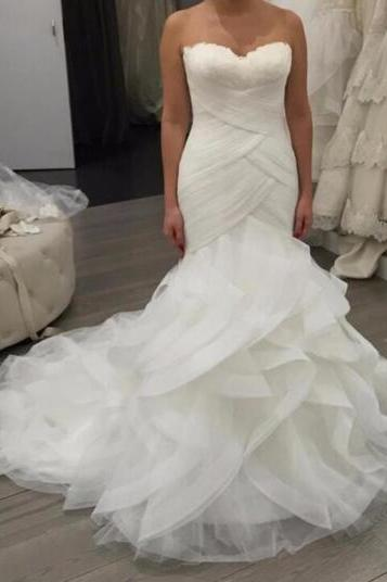 2018 New Charming Sexy Wedding Dresses,Lace Mermaid Wedding Dresses,Bridal Dress,Wedding Dress,Ruffles Wedding Dresses,Sweetheart Wedding Dresses,Off Shoulder Wedding Dresses,Wedding Dresses With Pleats