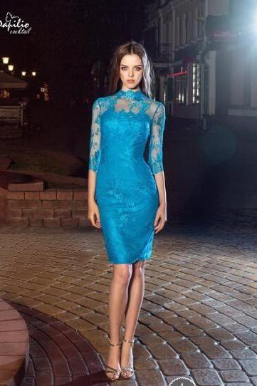 High Neck Evening Dress, Blue Evening Dress, Lace Applique Evening Dress, Short Evening Dress, Evening Dresses 2018