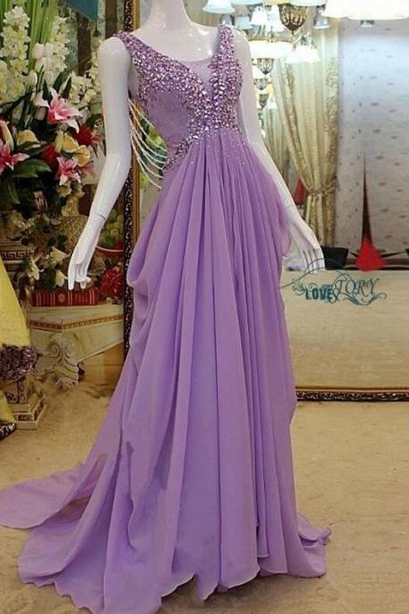 2018 New Design Sexy Custom New Fashion Prom Dress,Luxury Prom Dress,Sexy Prom Dress,A Line Prom Dress,Beaded Prom Dress,Unique Prom Dress,Sequins Prom Dress,Long Prom Dress,Lavender Prom Dress,Chiffon Prom Dress,Dress for Prom