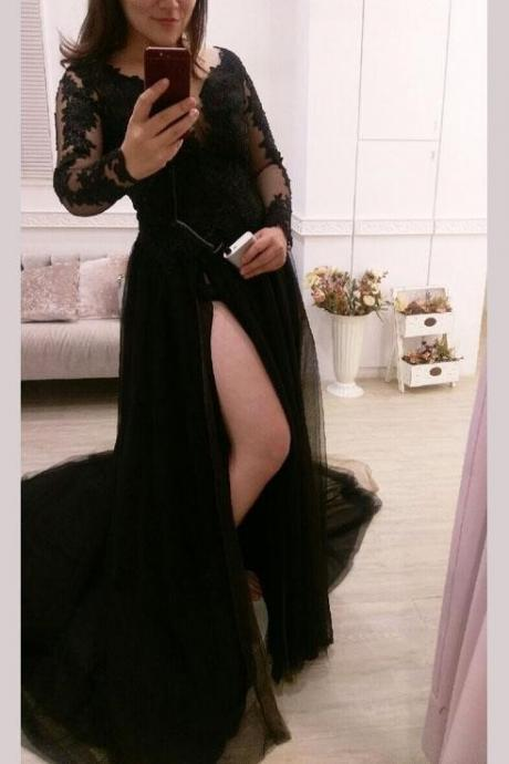 Charming Sexy Black Long Sleeves High Slit Tulle Party Gowns, Prom Dresses 2018, Evening Dresses, High Quality Party Dress, Lace evening Dress