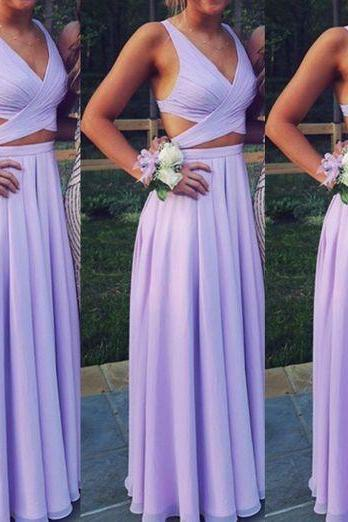2018 New Arrival prom dresses,Beautiful Lavender Two Piece Chiffon Prom Dresses, Long Two Piece Party Dresses, Evening Dresses Free Shipping