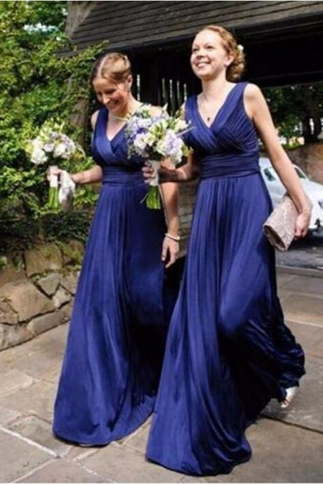 High Quality Custom Made Navy Blue Chiffon V-Neckline A-line Long Evening Dress, Bridesmaid Dresses, Prom Dresses, Formal Dresses, Wedding Dresses