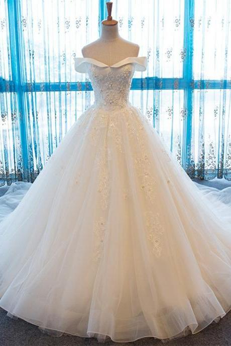 High Quality Off The Shoulder Wedding Dresses 2018 Vintage Appliqued Tulle A-Line Handmade Bridal Gowns Vestido De Noiva Lace Bridal Dresses