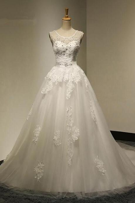 Charming Sexy Ball Gown Bridal Dress Backless Appliques Crystal Beadings Wedding Dress Scoop Neck Bride Dress High Quality