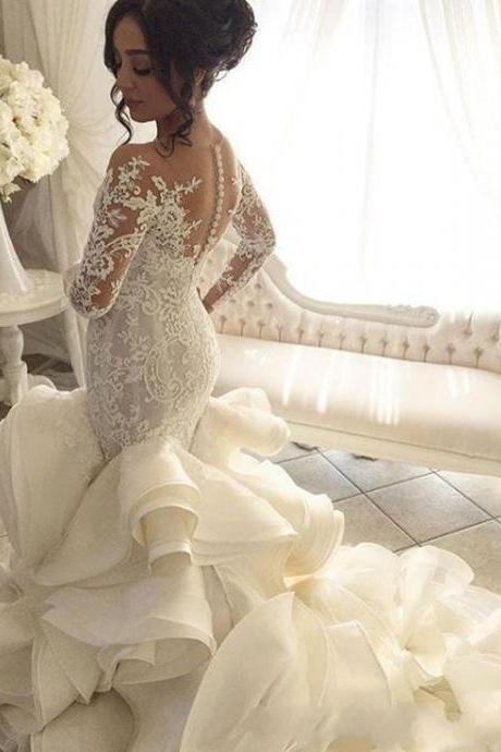 2018 Luxury Beach Wedding Dresses Mermaid Sheer Neck Long Sleeve Sweep Train Bridal Gowns With Applique Tiered Skirts Organza Wedding Gowns