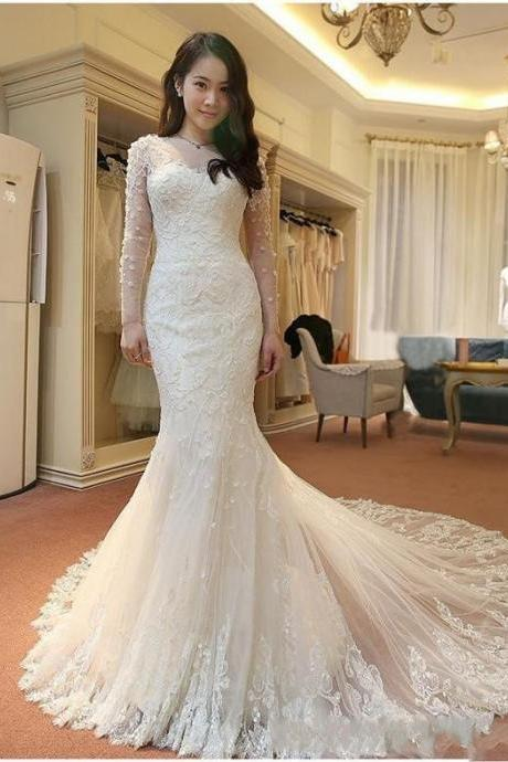 2018 Luxury Beach Wedding Dresses Mermaid Jewel Long Sleeve Sweep Tran Bridal Gowns With Lace Applique Button Back Wedding Gowns