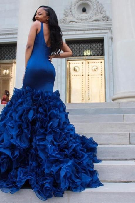 2018 Royal Blue Prom Dresses Mermaid Evening Gowns Long Sexy Deep V Neck Satin Sleeveless Ruffles Organza Skirt Formal Party Dresses
