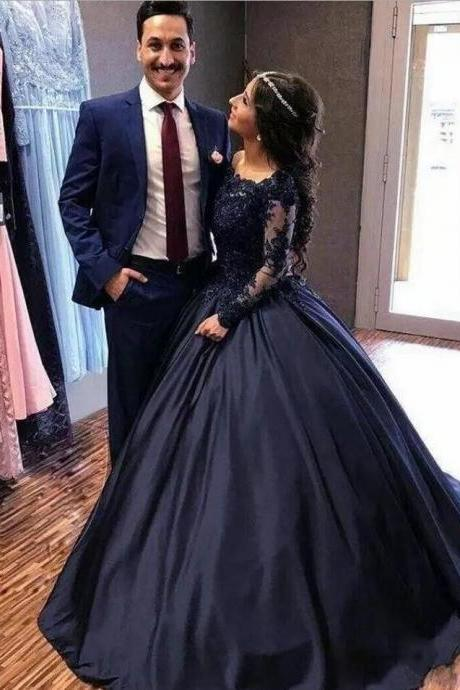 2018 Summer Fall Navy Blue Long Sleeve Prom Dresses Bateau Lace Satin masquerade Ball Gown African Evening Formal Dress vestidos Plus Size High Quality