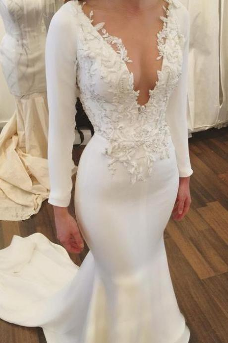 2018 New Elegant Wedding Dress,Wedding Dresses,Mermaid Wedding Dresses,Long Sleeves Wedding Dresses,Lace Wedding Dresses,V-Neck Wedding Dresses