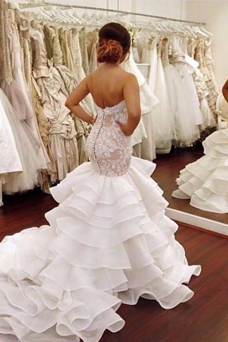 2018 Stunning Luxury Wedding Dress, Sweetheart Wedding Dresses. Mermaid Bridal Dress,Long Bridal Gown High Quality