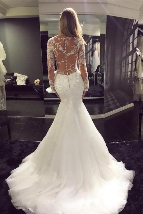 2018 New Classic Mermaid Wedding Dress with Long Sleeves Bridal Dress High Quality Bridal dresses Custom made
