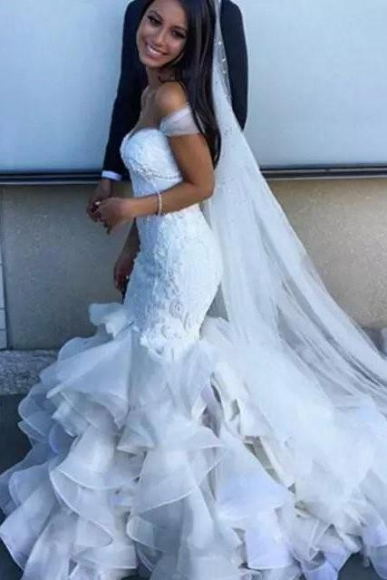 2018 New Wedding Dresses,Lace Wedding Dresses,Mermaid Wedding Dresses,Sweetheart Wedding Dresses,Off Shoulder Wedding Dresses,Ruffles Wedding Dresses