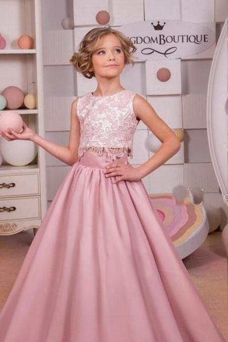 2018 Pink Little Girls Pageant Dresses Lace Appliques A Line Two Pieces Flower Girls Dresses for Weddings Communion Gown
