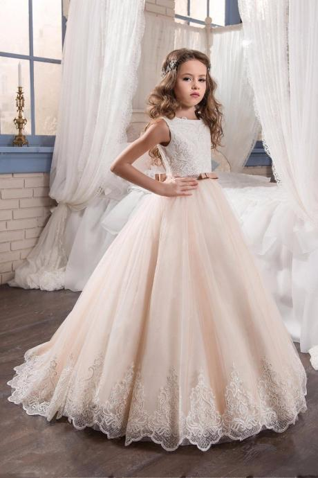 Flower Girls Dresses For Wedding With Bows Scoop Organza Ball Gown Graduation Gowns First Communion Dresses For Girls